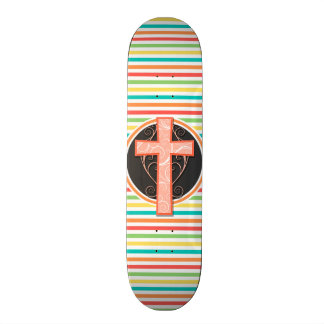 Coral Orange Cross Bright Rainbow Stripes Skate Board Decks