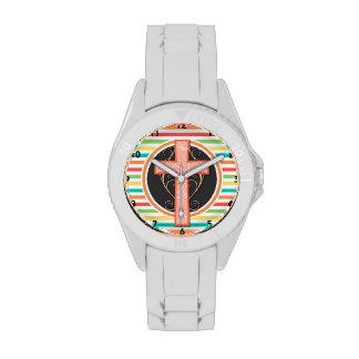 Coral Orange Cross; Bright Rainbow Stripes Wrist Watches
