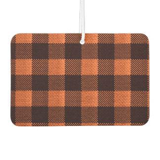 Coral Orange Gingham Checkered Pattern Burlap Look Car Air Freshener