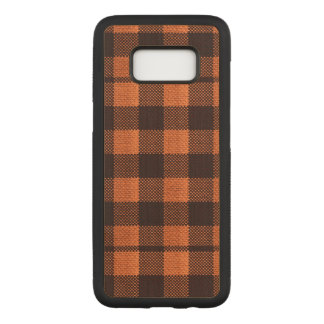Coral Orange Gingham Checkered Pattern Burlap Look Carved Samsung Galaxy S8 Case