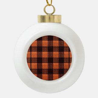 Coral Orange Gingham Checkered Pattern Burlap Look Ceramic Ball Ornament