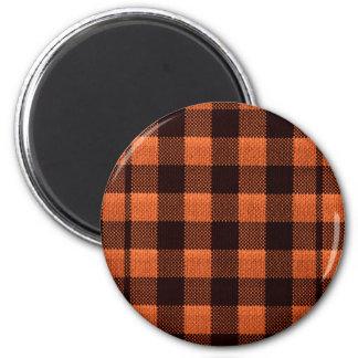 Coral Orange Gingham Checkered Pattern Burlap Look Magnet
