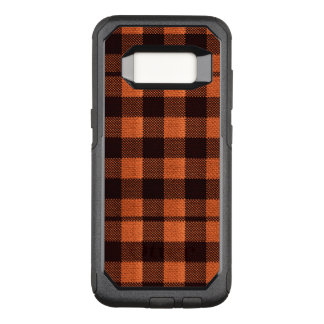 Coral Orange Gingham Checkered Pattern Burlap Look OtterBox Commuter Samsung Galaxy S8 Case
