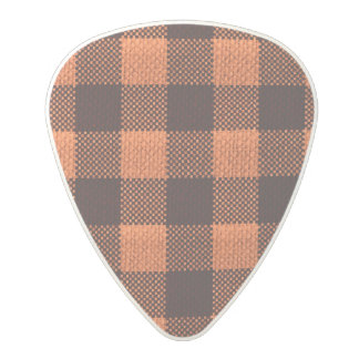 Coral Orange Gingham Checkered Pattern Burlap Look Polycarbonate Guitar Pick