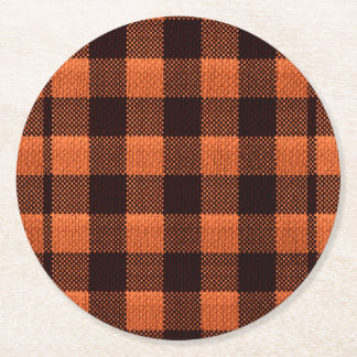 Coral Orange Gingham Checkered Pattern Burlap Look Round Paper Coaster