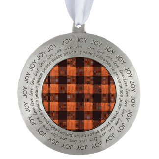 Coral Orange Gingham Checkered Pattern Burlap Look Round Pewter Ornament