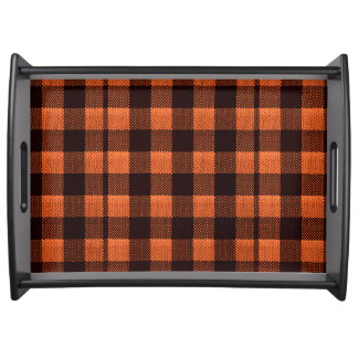 Coral Orange Gingham Checkered Pattern Burlap Look Serving Tray