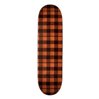 Coral Orange Gingham Checkered Pattern Burlap Look Skateboard Deck