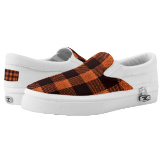 Coral Orange Gingham Checkered Pattern Burlap Look Slip-On Sneakers