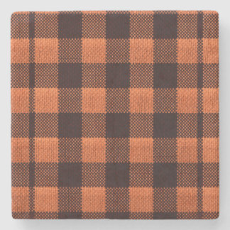 Coral Orange Gingham Checkered Pattern Burlap Look Stone Coaster