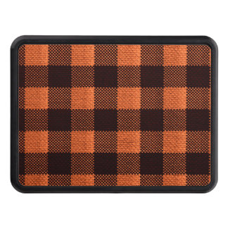 Coral Orange Gingham Checkered Pattern Burlap Look Trailer Hitch Cover
