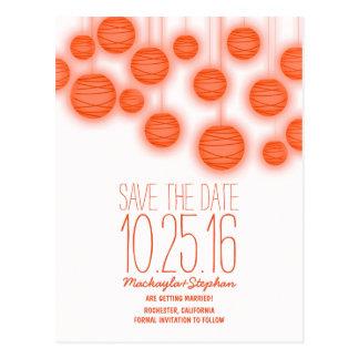 Coral orange lantern lights save the date postcard