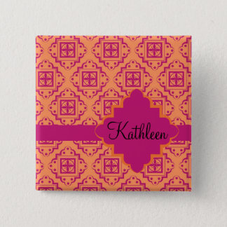 Coral Orange & Magenta Arabesque Moroccan 2 Inch Square Button