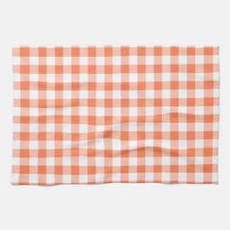 Coral (Orange Pink) and White Gingham Hand Towels