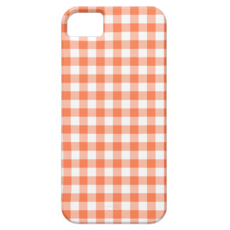 Coral (Orange Pink) and White Gingham iPhone 5 Case