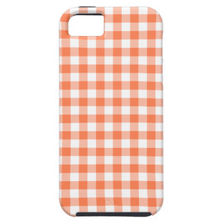 Coral (Orange Pink) and White Gingham iPhone 5 Covers