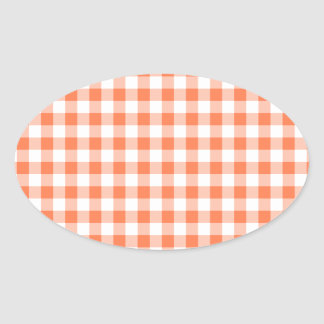 Coral (Orange Pink) and White Gingham Oval Sticker