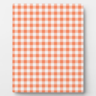 Coral (Orange Pink) and White Gingham Plaque