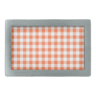 Coral (Orange Pink) and White Gingham Rectangular Belt Buckles