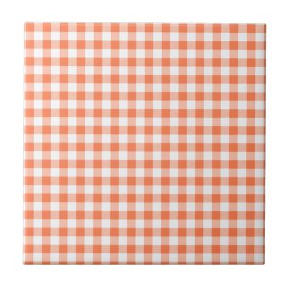 Coral (Orange Pink) and White Gingham Tiles