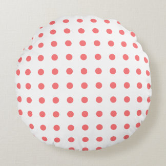 Coral Orange Polka Dot, Solid Color Round Pillow