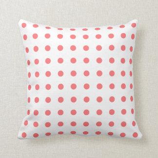 Coral Orange Polka Dot Throw Pillow