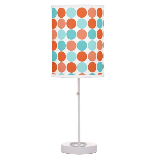 Coral Orange, Teal, Turquoise, Polka Dots Table Lamp