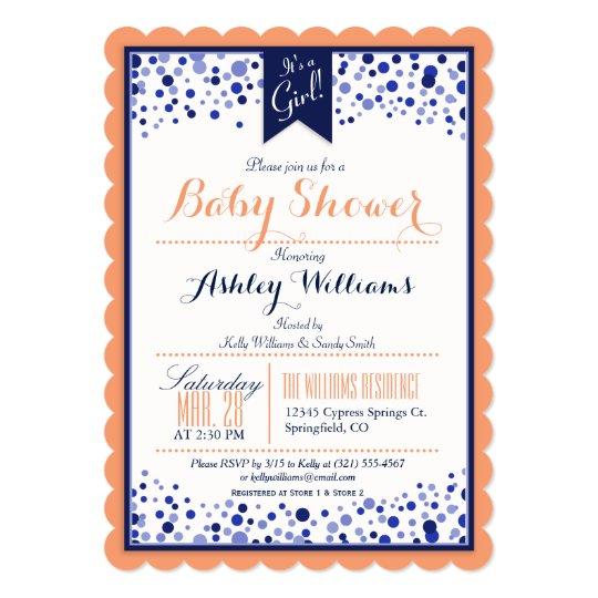 Coral Orange, White, & Navy Blue Baby Shower Card