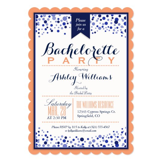 Coral Orange, White, Navy Blue Bachelorette Party Card