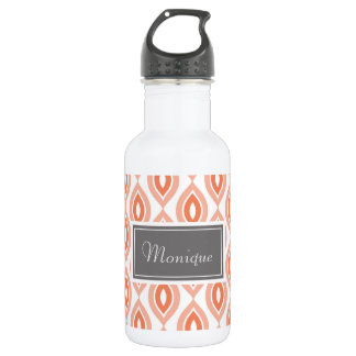 Coral, Orange, White Pattern Custom Water Bottle