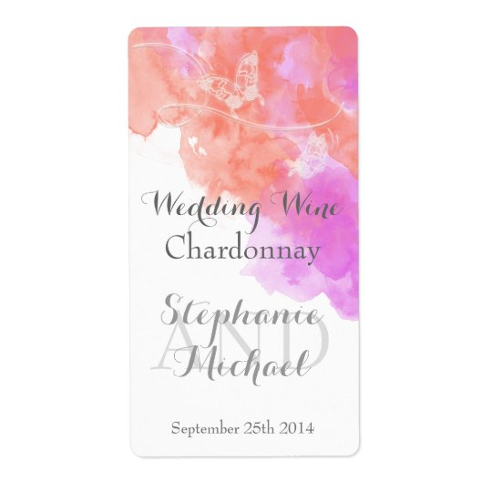 Coral Orchid Watercolor Butterfly Wedding Wine Lab Shipping Label
