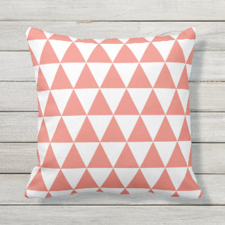Coral Outdoor Pillows  Triangles Pattern