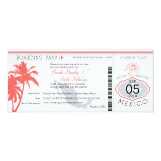 "Coral Palm Tree Mexico Boarding Pass Wedding 4"" X 9.25"" Invitation Card"