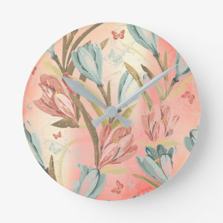 Coral Pastel Floral Pearly Blue Ivory Butterfly Wall Clock