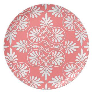 Coral Pattern White Ancient Design Greek Salmon Plate