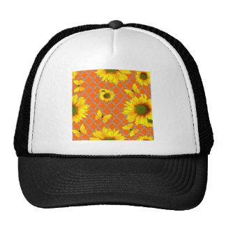 Coral Pattern Yellow butterflies Sunflowers Trucker Hat