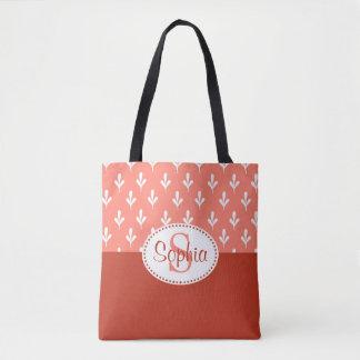 Coral / Peach and Rust Monogram Tote Bag