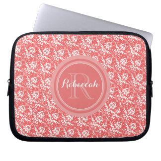 Coral Peach Damask Pattern | Monogram Name Initial Laptop Sleeve