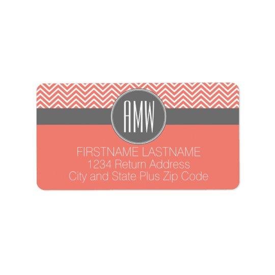 Coral Peach Grey Chevrons Custom Triple Monogram