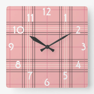 Coral Peach Pastel Pink Tartan Plaid Check Pattern Square Wall Clock