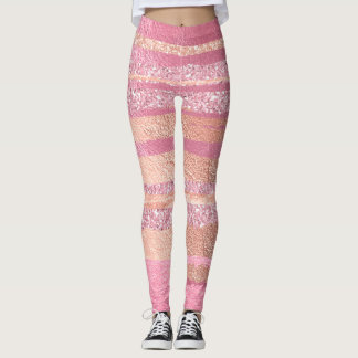 Coral Peach Pink Rose Stripes Glitter Metallic Leggings