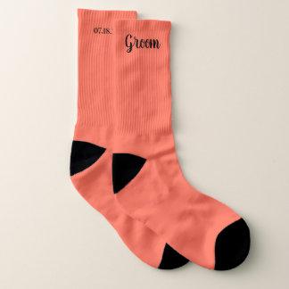 Coral Personalized Groom Wedding Socks