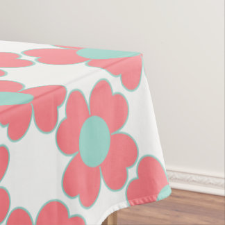 Coral Pink and Cool Aqua Heart Flowers Tablecloth