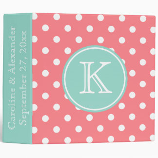 Coral Pink and Cool Aqua Monogram Wedding Binder