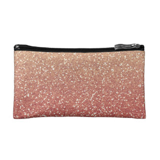 Coral Pink and Gold Faux Glitter Makeup Bag