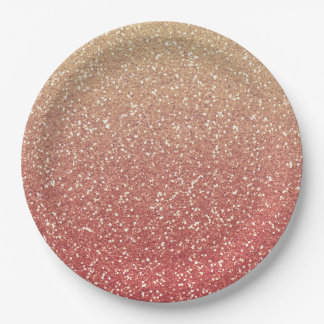 Coral Pink and Gold Faux Glitter Paper Plate