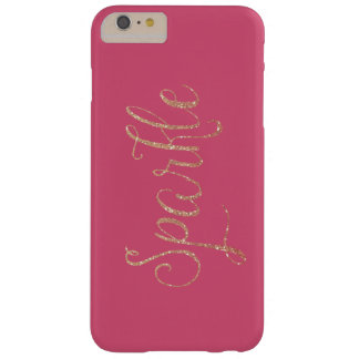Coral Pink and Gold Faux Glitter Sparkle Barely There iPhone 6 Plus Case