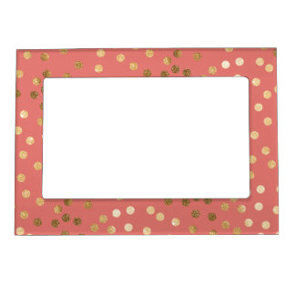 Coral Pink and Gold Glitter Dots Photo Frame Magnets