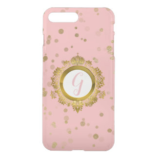 Coral Pink and Gold Monogrammed iPhone 8 Plus Case