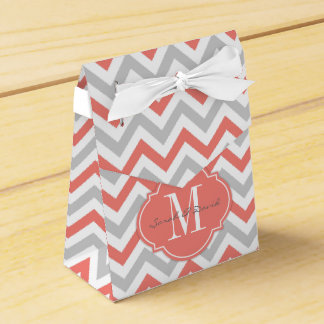 Coral Pink and Gray Chevron Pattern with Monogram Favor Box
